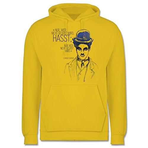 Statement Shirts - Charlie Chaplin - Zitat aus der Rede des großen Diktators (Film) - Männer Premium Kapuzenpullover / Hoodie Gelb