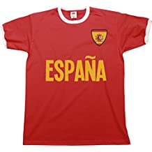 Buzz Shirts Mens Espana Spain Name Ringer Retro T-Shirt Camiseta para Hombre Sports Football