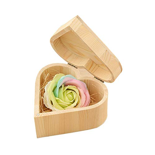 Demiawaking sapone profumato fiore sapone petali di rosa decorazioni di nozze scatola regalo in legno san valentino (scatola di legno cuore)