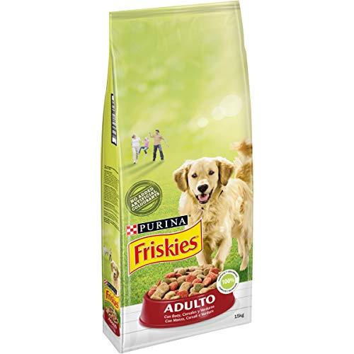Purina Friskies Pienso para Perro Adulto Buey, Cereales y Verduras 15 Kg