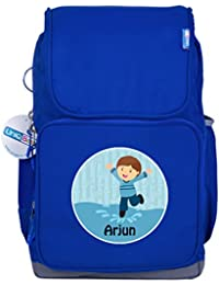 UniQBees Personalised School Bag With Name (Smart Kids Large School Backpack-Blue-Splash)