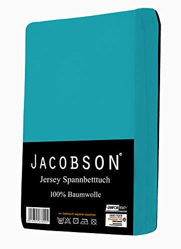 Jacobson Jersey Spannbettlaken Spannbetttuch Baumwolle Bettlaken (90×200-100×200 cm, Türkis) - 2