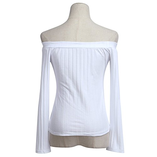 La Cabina Femme Sexy T-Shirt Blouse Sweater à Manches Longues Épaule Nue pour Soirée Cocktail Blanc