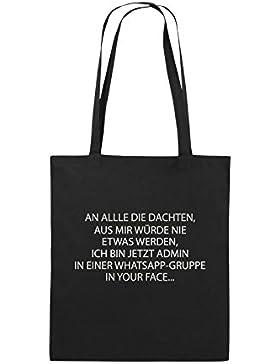 Comedy Bags - ADMIN WHATSAPP GRUPPE - Jutebeutel bedruckt, Baumwolltasche zwei lange Henkel aus 100 % Baumwolle...