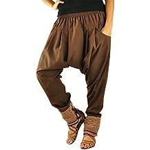 Talla única ropa hippie para hombres y mujeres, pantalones bombachos hombre y mujer en algodón con tejidos tradicionales y cómoda cintura elástica - Malie