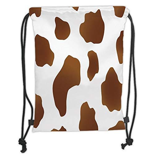 Fashion Printed Drawstring Backpacks Bags,Cow Print,Brown Spots on a White Cow Skin Abstract Art Cattle Fur Farm Animals Cowboy Barn Decorative,White Brown Soft Satin,5 Liter Capacity,Adjustable S