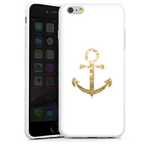 Apple iPhone 7 Hülle Case Handyhülle Anker Gold Sommer Silikon Case weiß