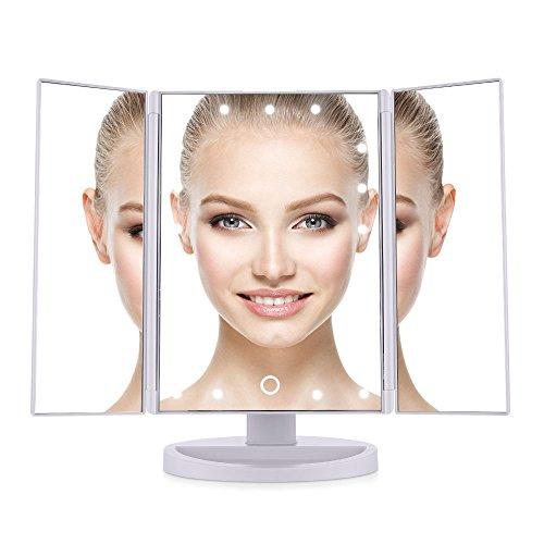 Easehold Kosmetikspiegel mit Beleuchtung, 21 Led Licht, ELander faltbar Standspiegel für Badezimmer und Schlafzimmer, Spiegel Eitelkeit Spiegel drei Panel, 180° frei drehbare Arbeitsplatte Kosmetik Make-up-Spiegel