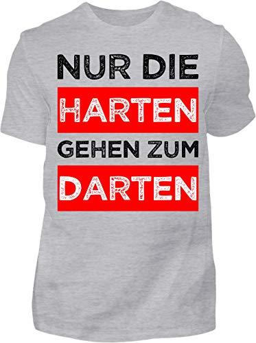 Kreisligahelden T-Shirt Herren Lustig Nur die Harten gehen zum Darten - Kurzarm Shirt Baumwolle mit Spruch Aufdruck - Hobby Freizeit Fun Dart Darts 180 (S, Grau)