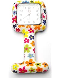 QBD Nurses Fashion Coloured Patterned Silicon Rubber Fob Watches - SQUARE Daisys
