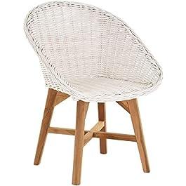 korb.outlet Multistore 2002 Chaise de salle à manger rétro avec accoudoirs en bois et rotin Blanc