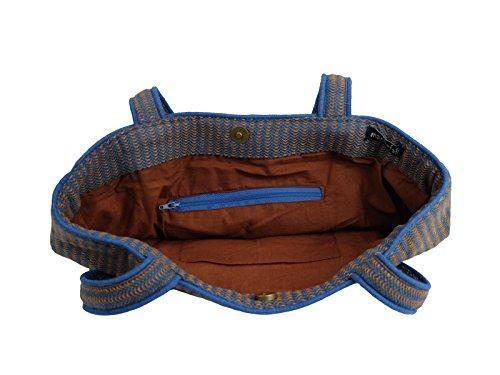 manbefair Fair Trade Tweed Shopper Schultertasche Cher Umhängetasche Hobo Bag Tasche 34x38 cm (BxH) Navy-Orange