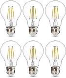 AmazonBasics Professional LED-Leuchtmittel, Edison-Schraubgewinde (E27), entspricht 40-Watt-Birne, Klarglas, Glühfaden-Design, dimmbar, 6 Stück