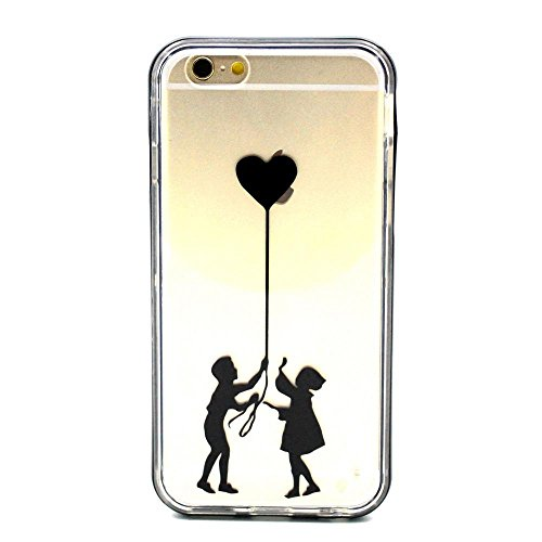 MOONCASE iPhone 6S Coque, IMD Gel Souple TPU Case Fleur Motif Cover pour iPhone 6 / 6S (4.7 inch) Transparente Housse Antidérapant en Silicone Avec Absorption de Chocs [Feather Pattern] Sweethearts