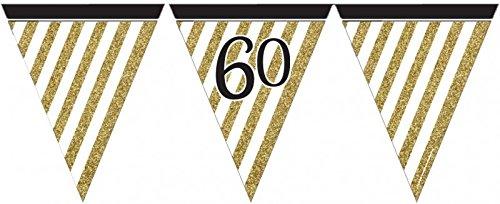 34 Teile Dekorations Set zum 60. Geburtstag oder Jubiläum – Party Deko in Schwarz & Gold - 3