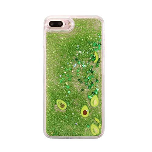 Misstars für iPhone 7 Plus Hülle Glitzer Flüssig, Bling 3D Kreative Liquid Case für iPhone 8 Plus Transparent Hart Plastik Backcover mit Avocado Muster Schutzhülle Anti-Rutsch Kratzfest für Apple iPhone 7 Plus / 8 Plus (5,5 Zoll)