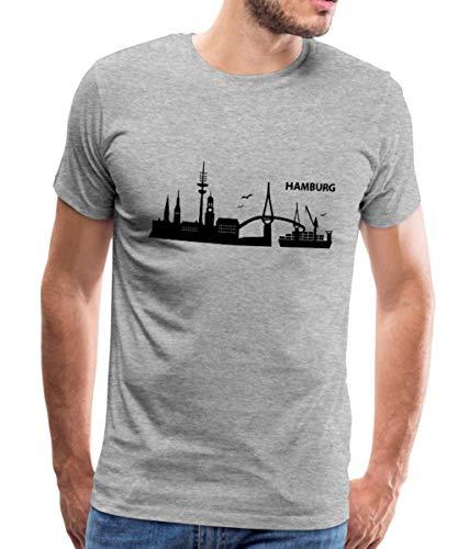 Spreadshirt Hamburg Skyline Männer Premium T-Shirt, XXL, Grau meliert