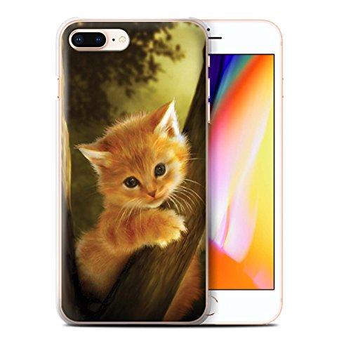 Offiziell Elena Dudina Hülle / Case für Apple iPhone 8 Plus / Kleiner Panda/Bambus Muster / Die Tiere Kollektion Der Mutige/Kätzchen