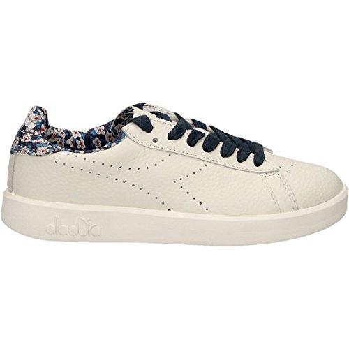 Scarpe Donna DIADORA HERITAGE 201 171908 GAME LIBERTY Pelle Sneakers fiorata Primavera Estate 2017 Bianco