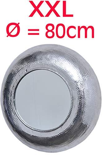MAADES Spiegel Wandspiegel Valentine XXL rund Silber ø 80cm groß | Großer Marokkanischer Flurspiegel Modern Design mit Rahmen | Runder Vintage Badspiegel ohne Beleuchtung als Orientalische Bad Deko