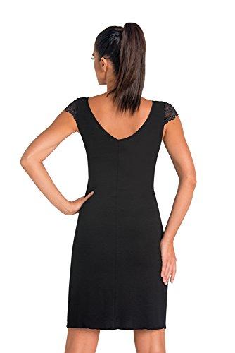 Donna Sensuale camicia da notte in viscosa con pregiata decorazione in pizzo, disponibile in confezione regalo Nero