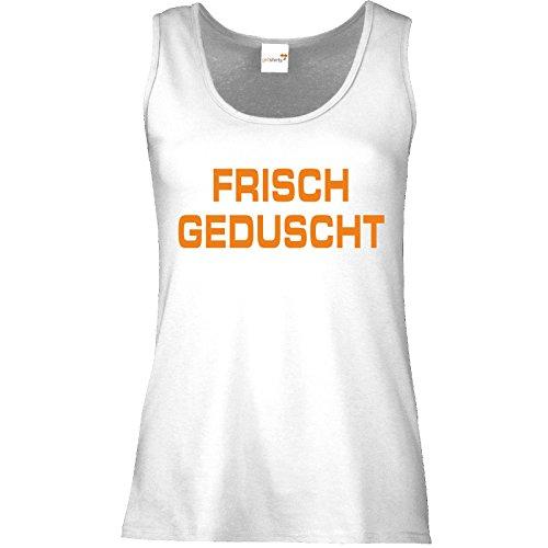 getshirts - RAHMENLOS® Geschenke - Tank Top Damen - Frisch geduscht Weiß