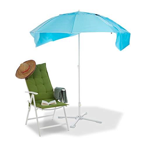 Relaxdays Sonnenschirm Strandmuschel, 2 in 1 Sonnenschutz f. Strandurlaub, inkl. Tragetasche, Schirm HxD 210x180cm, blau - Sonne Strand Zelt