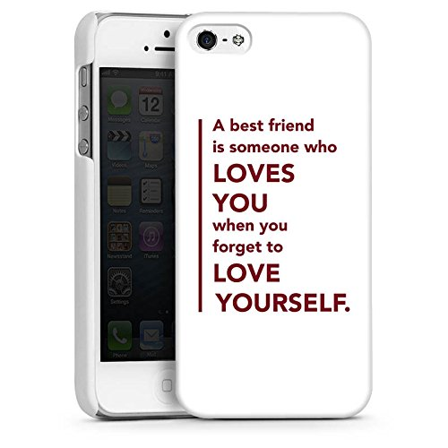 Apple iPhone 5s Housse Étui Protection Coque Meilleur ami Best Friend Ami CasDur blanc