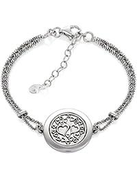 LillyMarie Damen Armband Sterlingsilber 925 Rund mit Herzen Länge Flexibel  Hochwertige Geschenkbox aus Holz Geschenk Beste dc6f3b2fc8
