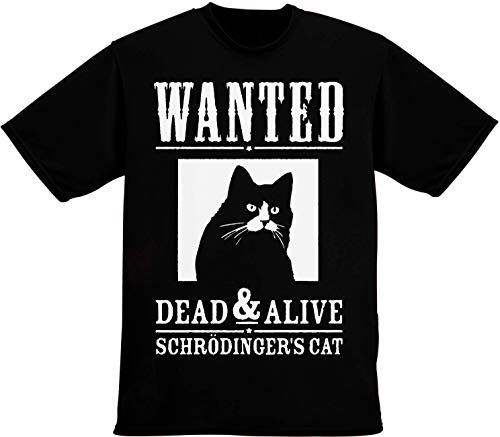 42c66b60f Wanted Dead and Alive Schrodinger's Cat T-Shirt pour Hommes Large