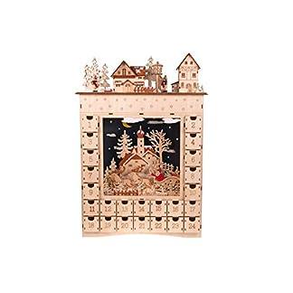 Clever Creations – Calendario de Adviento con 2 escenas navideñas – con cajoncitos para Cuenta atrás hasta Navidad – Ciervos en el Bosque y Pueblo nevado – 51 x 40,5 x 10cm