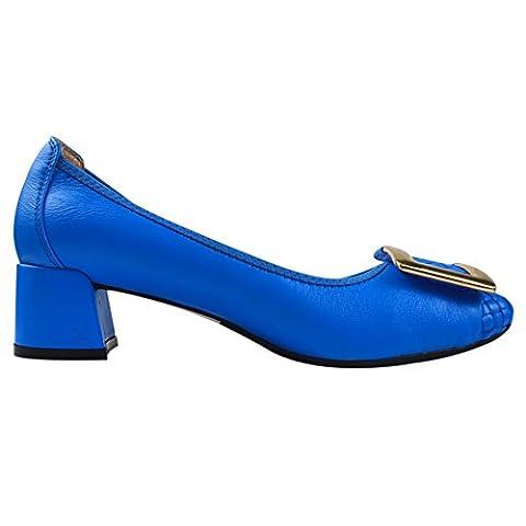 Frauen-Damen-Beleg auf Schaffell-Leder Mid-Ferse Chunky Schuhe Pumps 0018-1 (Blau,37)
