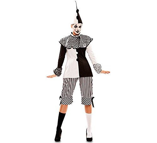 EUROCARNAVALES Damen Kostüm Harlekin Pepi schwarz weiß Clown Pierrot Karneval Fasching (42)
