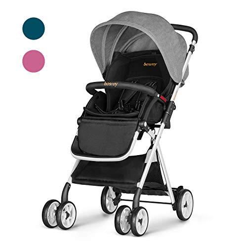 Besrey Cochecito de bebe plegable Carrito de bebe Silla de paseo hasta 15 kg 6-36 meses seguridad ECE