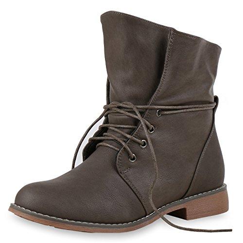 SCARPE VITA Damen Stiefeletten Worker Boots Stiefel Stiefel 151485 Taupe Gefüttert 37