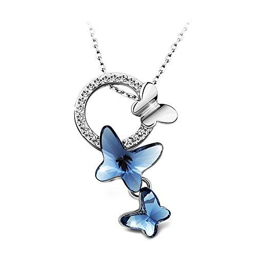 T400 Jewelers Halskette Swarovski Elements Kristall Schmetterling Anhänger - Das perfekte Geschenk für Sie, 42 + 5 cm