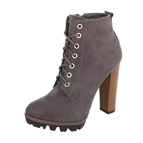 Ital-Design High Heel Stiefeletten Damen-Schuhe High Heel Stiefeletten Pfennig-/Stilettoabsatz High Heels Reißverschluss Stiefeletten Grau, Gr 41, 118-1-1-
