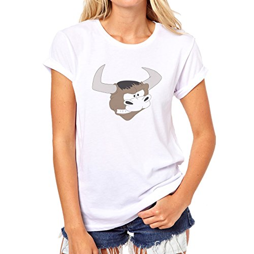 Bull Cow Animals Farm Head Angry Damen T-Shirt Weiß
