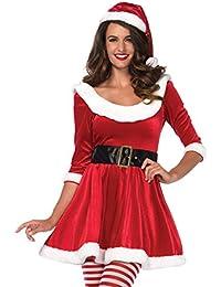 """Leg Avenue  3 teilig Set """"Santa Sweetie"""", Samtkleid mit Pluesch-Details, Guertel und passender Muetze, , Größe: S/M (EUR 36-38)"""