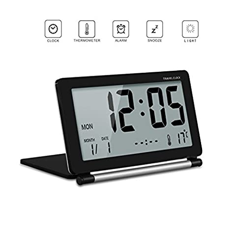 Backlight Folding Travel Alarm Clock with Soft Blue Backlight and Display Time Date Week Temperature (Black)