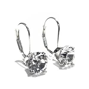 925 Sterling Silver Lever back earrings set with sparkling Swarovski crystal stones. Gift Box. Made in England. Beautiful jewellery for very special people.