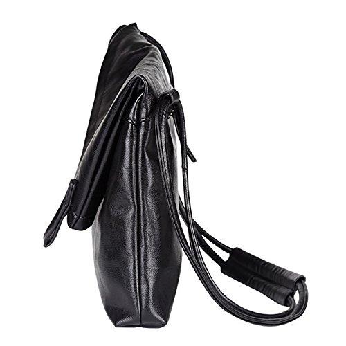 Outreo Borse in Pelle Borsello Uomo Borse a Spalla Cuoio Borsa Tracolla Sacchetto Laptop Borsa Laterale per Scuola Vintage Messenger Bag Nero