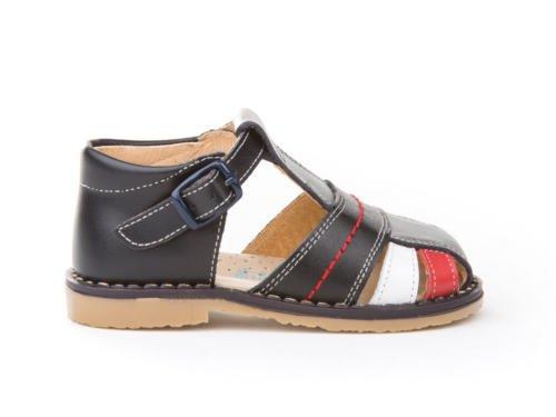Sandales pour enfants 1ère Calzadura mod.537. Chaussures Enfant tous peau Made in Spain produit de qualité. Blanc Cassé - Azul Tommy