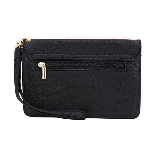 Conze da donna portafoglio tutto borsa con spallacci per Smart Phone per ZTE Nubia Z9Mini/Max Grigio grigio nero