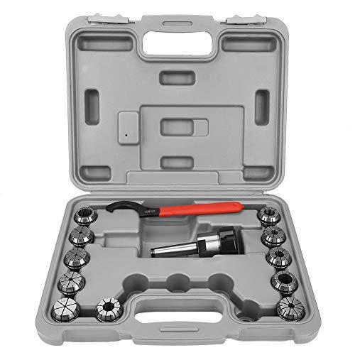 ER32 Spannzangenhalter Federstahl Spannzangenwerkzeug für Fräsmaschine mit Box (MT2-Schafthalter Stange + Schraubenschlüssel + ER32-Spannzangen) -