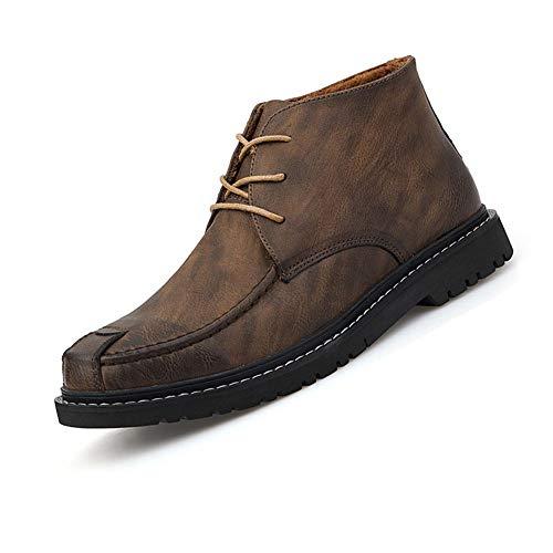 JiYe Herren High-Top Lederschuhe Casual Oxfords Schuhe Schnürschuhe Driving Schuhe Business Schuhe, (Khaki-1), 45 EU