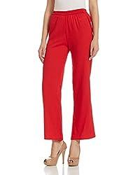 global desi Womens Relaxed Pallazo Pants (X56755-PLZ-356_Dark Red_M)