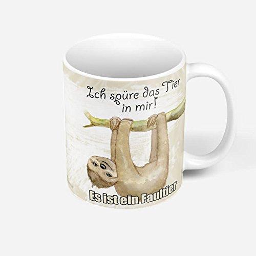 Sunnywall Auswahl Tasse Faultier Sloth Mug Spruch Motive Fun Premium Geschenk Keramik, Original Geschenkidee (Ich spüre Das Tier in Mir Es ist EIN Tasse 107)
