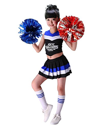 (G-Kids Mädchen Cheerleader Kostüm Kinder Cheerleader Uniform Karneval Fasching Party Halloween Kostüm mit 2 Pompoms Socken (Schwarz, 140cm))