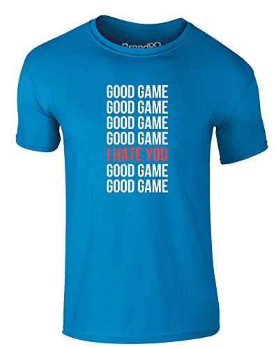Brand88 - Good Game, Erwachsene Gedrucktes T-Shirt Azurblau/Weiß